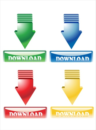 Download button Stock Vector - 17484031