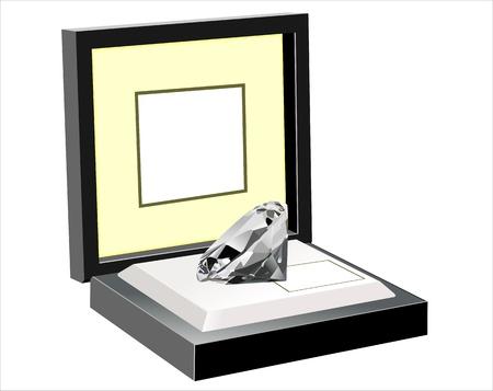jewel box: Open black gift box with diamond jewel isolated on white