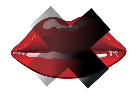 red lips ban Stock Vector - 17483965