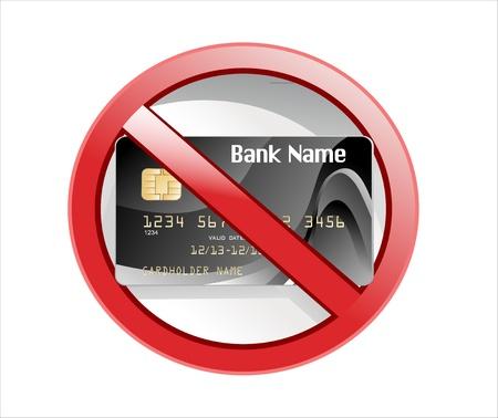 no credit card allowed sign Illustration