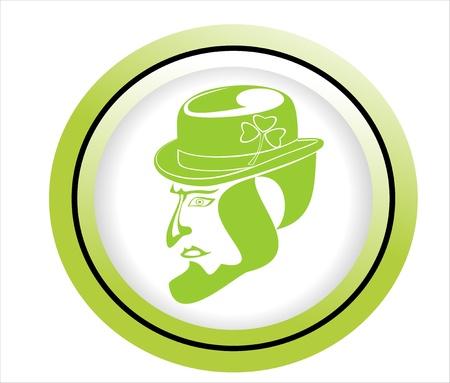 stroke of luck: cartoon vector green scale illustration leprechaun