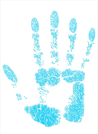 Blue hand prints Stock Vector - 17484057