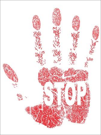 hand prints stop Stock Vector - 17484065