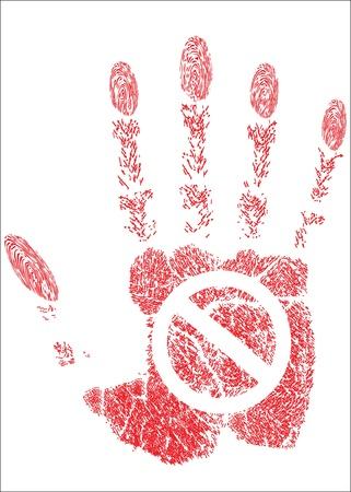 hand prints stop Stock Vector - 17484063