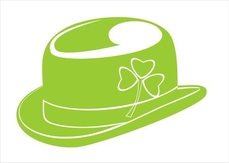 A green leprechaun hat emblazoned with a shamrock Illustration