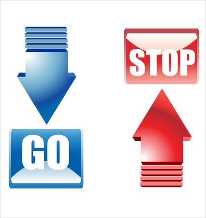 go stop buttons Stock Vector - 17483944