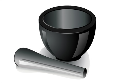 pestle: Black stone mortar and pestle over white background