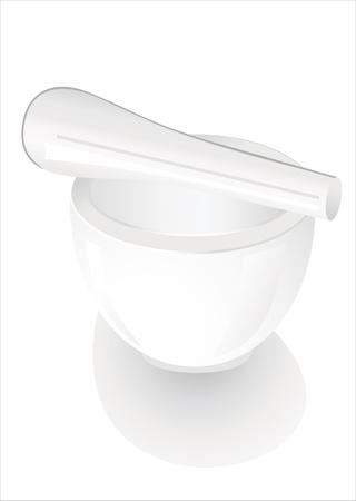 white porcelain mortar and pestle set Stock Vector - 17483922