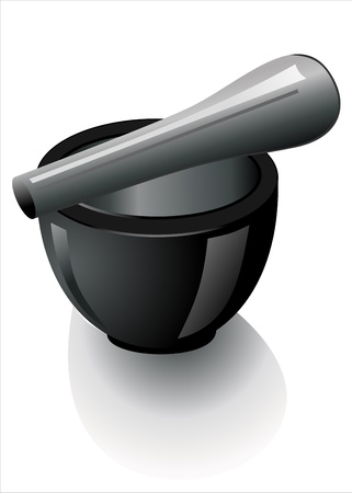 over lab: Black stone mortar and pestle over white background