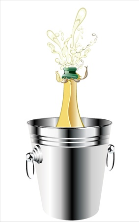 Champagne bottle in a bucket with ice on the white background Stock Vector - 17484035