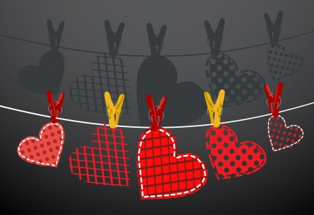 Paper hearts hanging from a rope  Part of Valentines day set  Vector  Vector