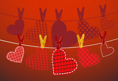 Paper hearts hanging from a rope  Part of Valentines day set  Vector  Stock Vector - 17484046