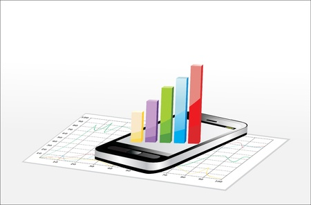 Smartphone showing a spreadsheet with some 3d charts over it Stock Vector - 17484025