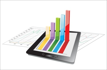computer tablet showing a spreadsheet with some 3d charts over it Stock Vector - 17484016