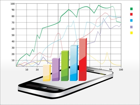 Smartphone showing a spreadsheet with some 3d charts over it Stock Vector - 17484026