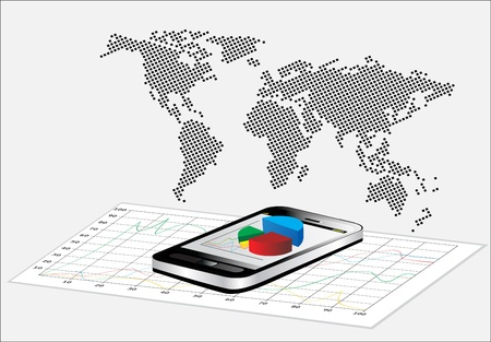 World Map and Smartphone showing a spreadsheet with some 3d charts over it Vector