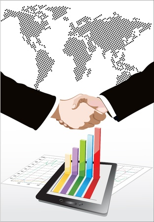 World Map and Tablet showing a spreadsheet and a paper with statistic charts, handshake isolated on business background Stock Vector - 17484047