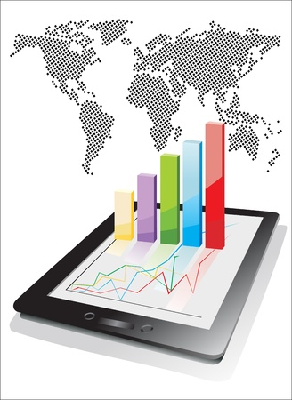 stock trading: world map and computer tablet showing a spreadsheet with some 3d charts over it