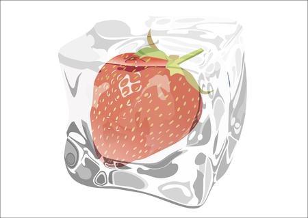cooled: strawberry frozen in ice Illustration