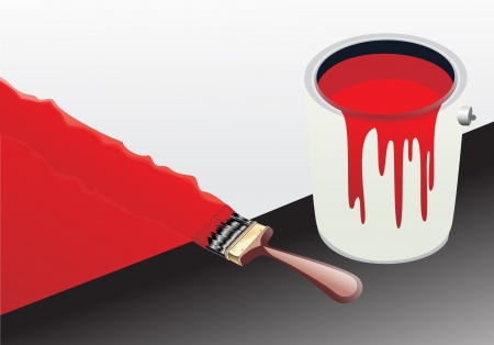 coating: red paint bucket and brush Illustration