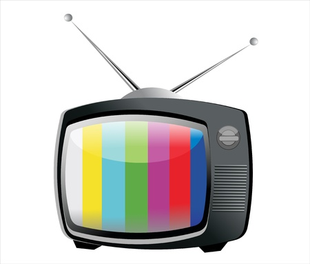 Retro TV with color frame, vector Vector