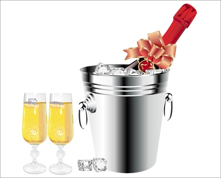 Champagne bottle in bucket with ice and glasses of champagne Stock Vector - 17484054