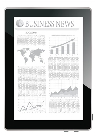 Tablet computer with business news on a screen on a white background Vector