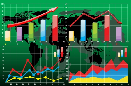 World map with business charts Stock Vector - 17754509