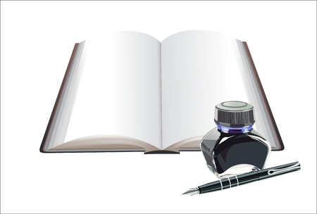 stylo: Book and fountain pen with ink bottle