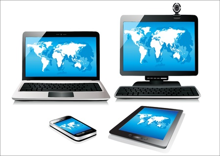 Mobile phone, tablet pc, notebook and computer  World map vector
