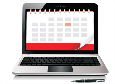 A diary book on a laptop screen  Vector Illustration  Vector