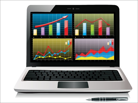 Laptop showing a spreadsheet with some charts Ilustração