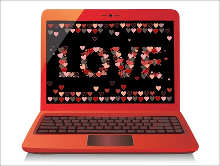 Heart Concept  Valentine s Day  Laptop on white Background  Vector  Stock Vector - 17754645