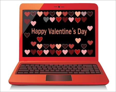 Heart Concept  Valentine s Day  Laptop on white Background  Vector Stock Vector - 17754610