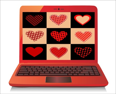 Heart Concept  Valentine s Day  Laptop on white Background  Vector Stock Vector - 17754604