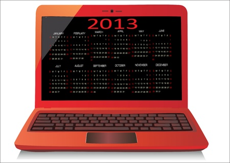Red laptop on white background WIth calendar 2013  Vector