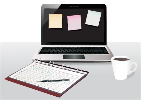 modern office desktop Stock Vector - 17754606
