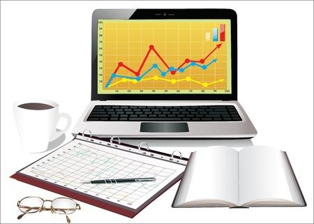 office desktop: modern office desktop Illustration