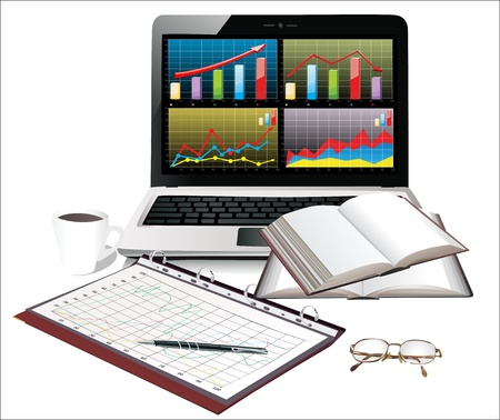 Laptop with business charts and group sheets with accounting Vector