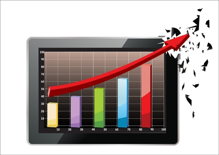 Realistic tablet pc computer profit concept, red arrow and business growth chart isolated on a white background Stock Vector - 17754039