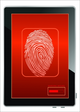 Tablet PC on screen fingerprint, isolated on white Vector