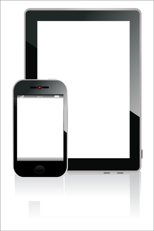 Modern realistic digital tablet PC with smart phone on white background Stock Vector - 17754036