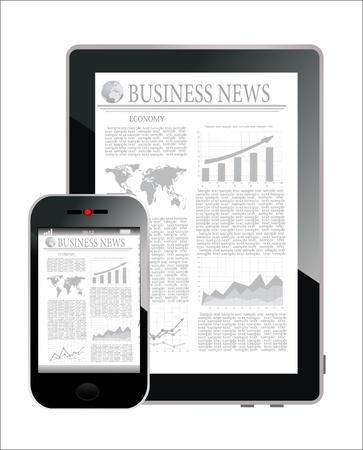 Concept with Business Newspaper on screen Tablet PC and Smartphone, vector Vector