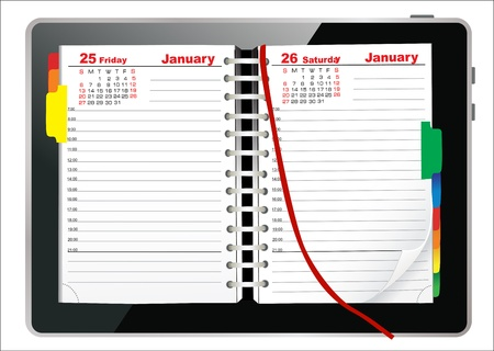 Diary book on a digital tablet screen  Illustration  Vector