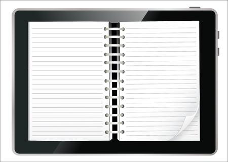 Diary book on a digital tablet screen  Illustration  Illustration