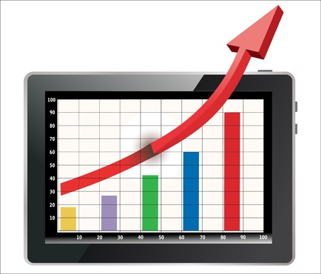Profit concept, red arrow shows business growth chart isolated on a white background Stock Vector - 17754027