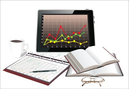 Modern workplace with digital tablet with charts, pen and papers with numbers and cup of coffee Stock Vector - 17754032