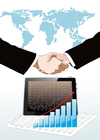World map, tablet pc computer showing a spreadsheet with some 3d charts over it and handshake Vector