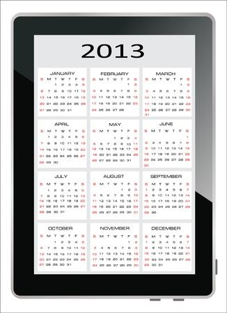 2013 calendar on the screen of tablet computer Stock Vector - 17753674