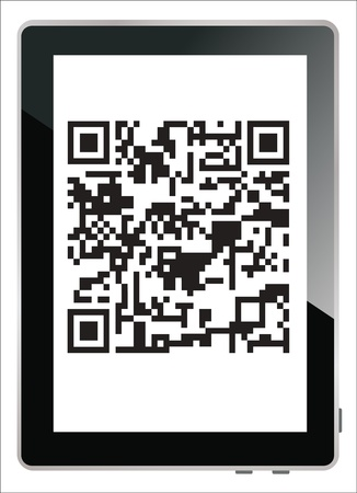 qrcode: Modern digital tablet showing quick response code pattern scanner on the screen